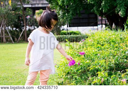 Selective Focus. Asian Little Girl Touching Pink Paper Flowers In The Garden. Cute Child Learning Se