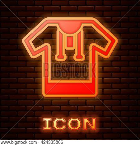 Glowing Neon Embroidered Shirt Icon Isolated On Brick Wall Background. National Ukrainian Clothing.