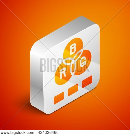 Isometric Rgb Color Mixing Icon Isolated On Orange Background. Silver Square Button. Vector