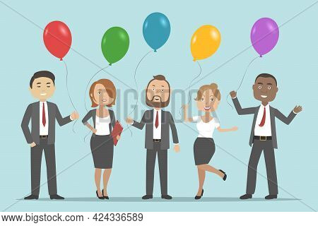 Corporate Party In Office. Multiethnic Team Celebrating Success. Vector Illustration.