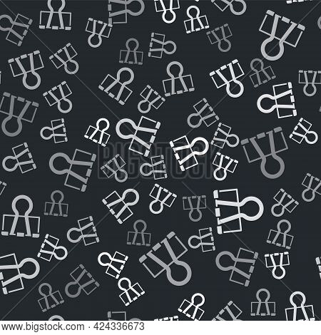 Grey Binder Clip Icon Isolated Seamless Pattern On Black Background. Paper Clip. Vector
