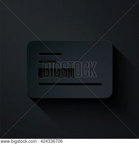 Paper Cut Visiting Card, Business Card Icon Isolated On Black Background. Corporate Identity Templat