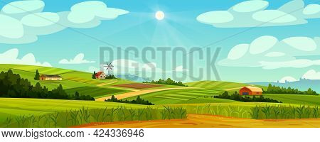 Green Fields Landscape Of Farmland, Barns And Farms, Rural Houses And Windmills. Pasture With Buildi