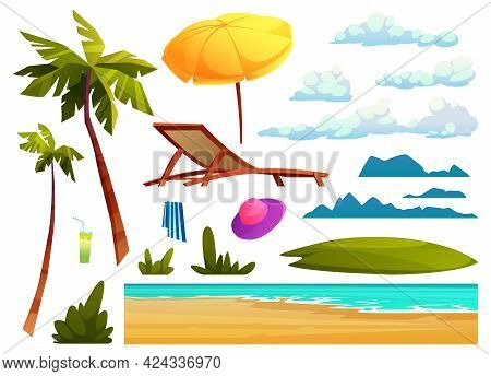 Summer Beach Design Elements Isolated Set Of Cartoon Icons. Sea Or Ocean Waves, Palm Trees And Cloud