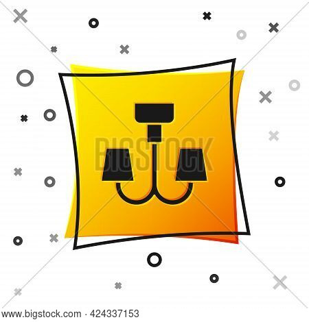 Black Chandelier Icon Isolated On White Background. Yellow Square Button. Vector