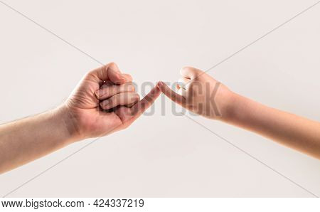 Friendship Of Generations. Father, Daughter Hand Making Promise Friendship Concept. Child Hook Littl
