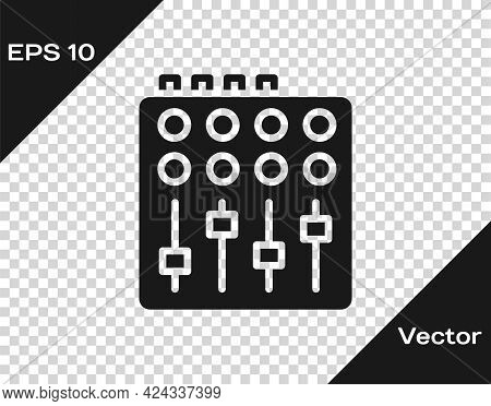 Black Sound Mixer Controller Icon Isolated On Transparent Background. Dj Equipment Slider Buttons. M