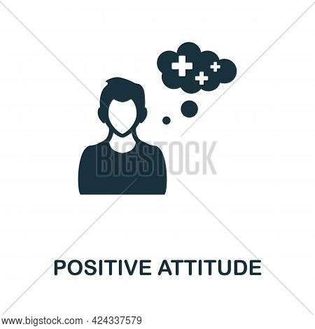 Positive Attitude Icon. Monochrome Simple Element From Personal Growth Collection. Creative Positive