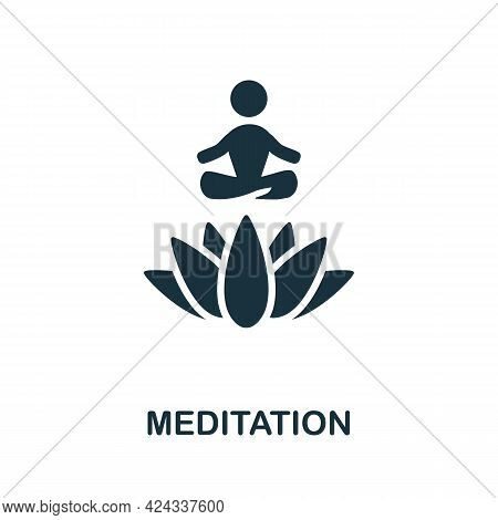 Meditation Icon. Monochrome Simple Element From Personal Growth Collection. Creative Meditation Icon