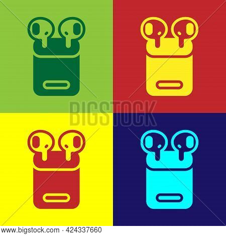 Pop Art Air Headphones In Box Icon Isolated On Color Background. Holder Wireless In Case Earphones G