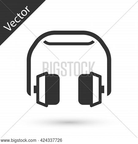 Grey Headphones Icon Isolated On White Background. Earphones. Concept For Listening To Music, Servic
