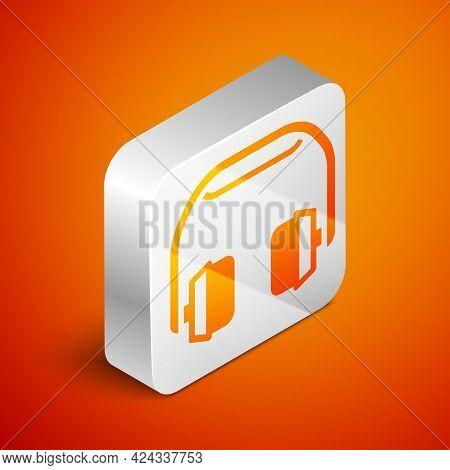 Isometric Headphones Icon Isolated On Orange Background. Earphones. Concept For Listening To Music,