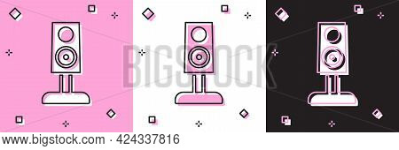 Set Stereo Speaker Icon Isolated On Pink And White, Black Background. Sound System Speakers. Music I