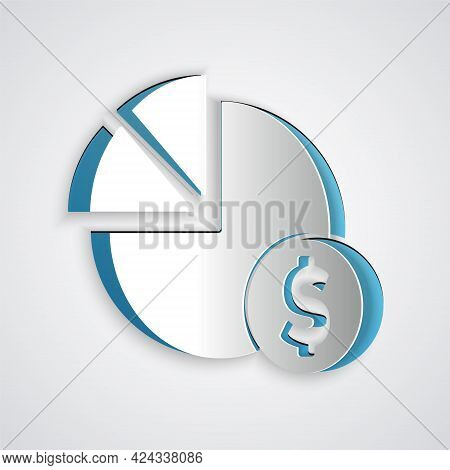 Paper Cut Pie Chart Infographic And Dollar Symbol Icon Isolated On Grey Background. Diagram Chart Si