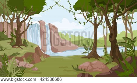Waterfall Jungle Landscape Cartoon Background. River Streams Of Water Flowing, Green Exotic Forest W