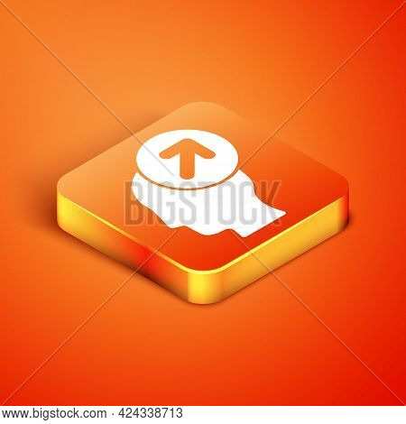 Isometric Head Hunting Concept Icon Isolated On Orange Background. Business Target Or Employment Sig