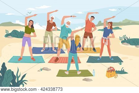 Group Fitness Outdoor Class On Beach, Summer Sport Activities. Yoga Exercise On Fresh Air, Men And W