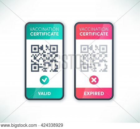 Covid-19 Vaccination Certificate Qr Code On Smartphone Screen Set Vector. Electronic Valid And Expir