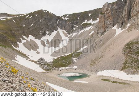 Glacial Valley With Little Lake In The Italian Apennines