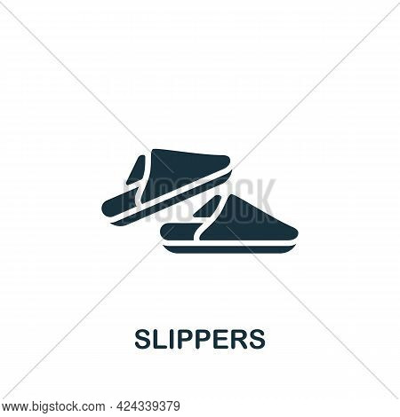 Slippers Icon. Monochrome Simple Element From Sauna Collection. Creative Slippers Icon For Web Desig