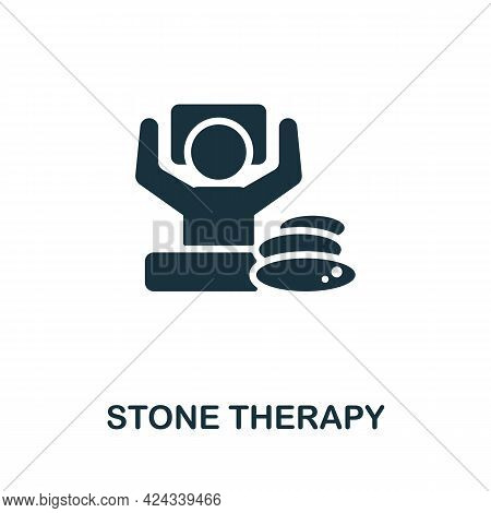 Stone Therapy Icon. Monochrome Simple Element From Sauna Collection. Creative Stone Therapy Icon For