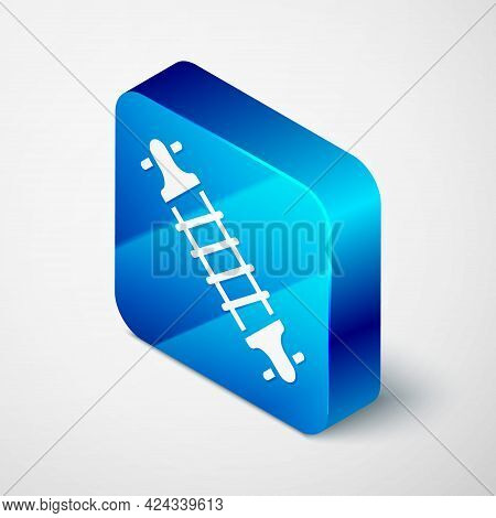 Isometric Bicycle Suspension Icon Isolated On Grey Background. Blue Square Button. Vector