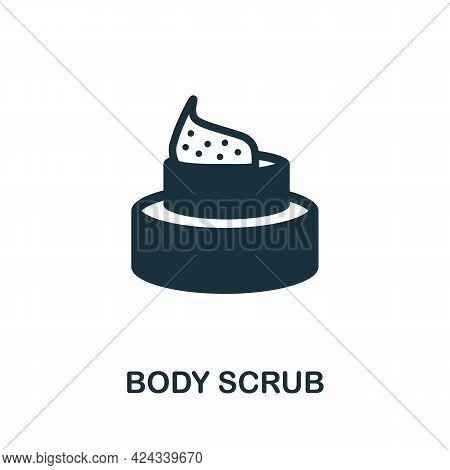 Body Scrub Icon. Monochrome Simple Element From Sauna Collection. Creative Body Scrub Icon For Web D