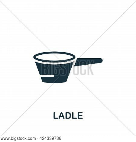 Ladle Icon. Monochrome Simple Element From Sauna Collection. Creative Ladle Icon For Web Design, Tem