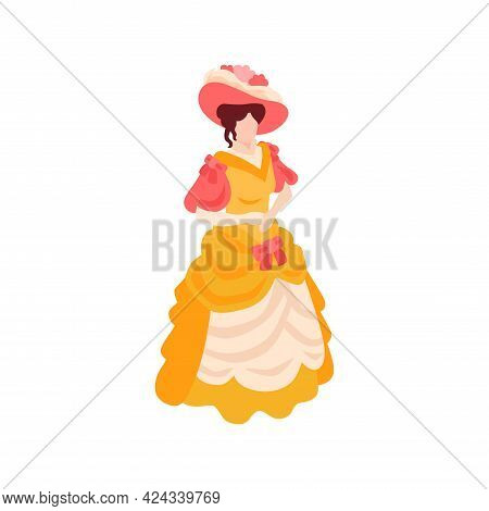 Victorian Female Fashion Isometric Icon With Woman Wearing 19th Century Dress Vector Illustration