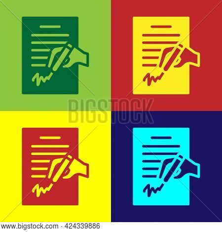 Pop Art Petition Icon Isolated On Color Background. Vector