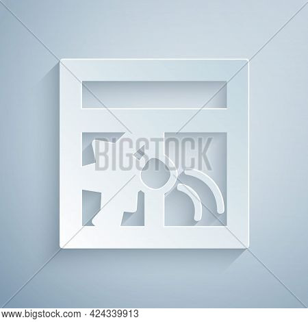 Paper Cut Broken Window Icon Isolated On Grey Background. Damaged Window. Beaten Windowpane Concept.
