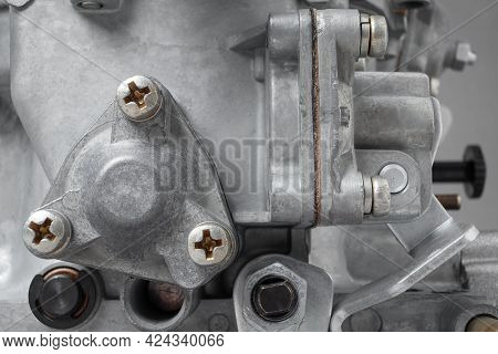 Close Up Of Details Of Car Carburetor For Internal Combustion Engine, Small Depth Of Focus. Automoti