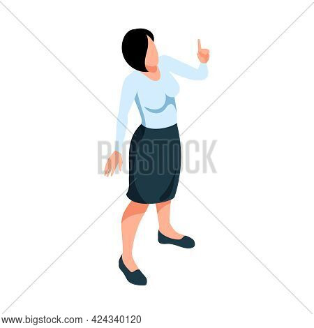 Isometric Icon Of Female Teacher Or Lecturer In Skirt And Blouse 3d Vector Illustration
