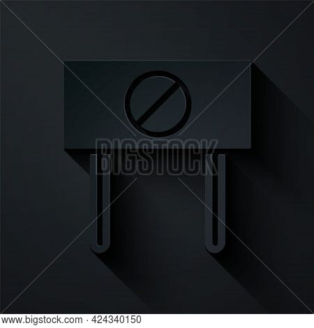 Paper Cut Protest Icon Isolated On Black Background. Meeting, Protester, Picket, Speech, Banner, Pro