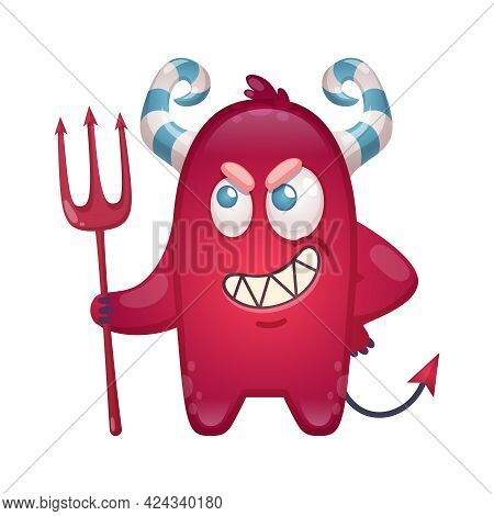 Cartoon Icon Of Small Wicked Devil With Trident Vector Illustration