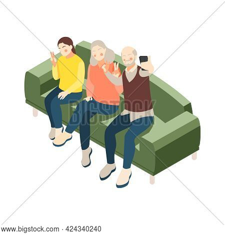 Happy Grandma And Grandpa Taking Selfie With Their Granddaughter Isometric Icon Vector Illustration