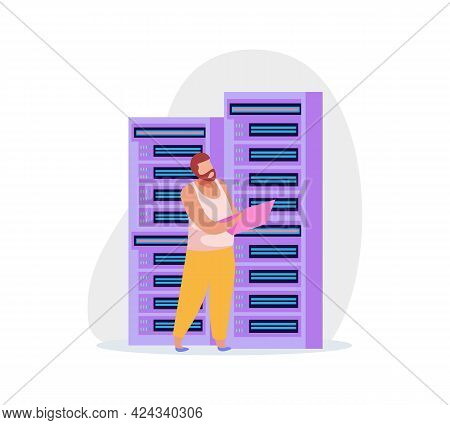 Flat System Administrator With Laptop And Server Rack Icon Vector Illustration