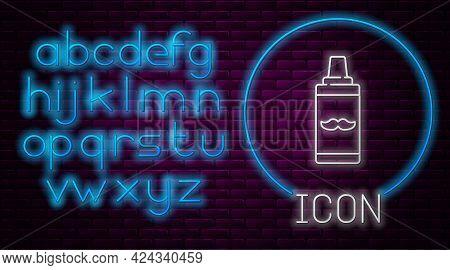 Glowing Neon Line Shaving Gel Foam Icon Isolated On Brick Wall Background. Shaving Cream. Neon Light