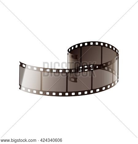 Film Strip Twisted Piece On White Background Realistic Vector Illustration