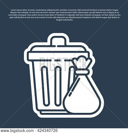 Blue Line Trash Can And Garbage Bag Icon Isolated On Blue Background. Garbage Bin Sign. Recycle Bask