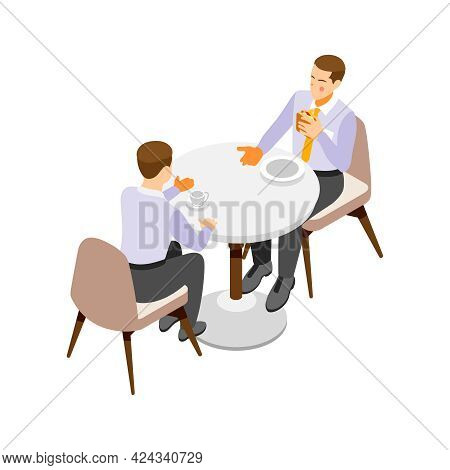 Two Office Workers Having Lunch Break Isometric Icon On White Background Vector Illustration