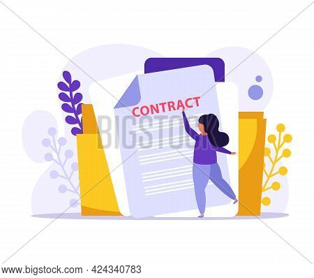 Flat Employment Icon With Labor Contract In Folder And Female Character Vector Illustration