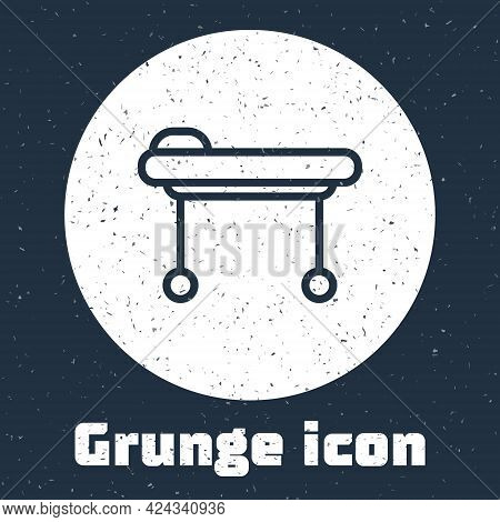 Grunge Line Stretcher Icon Isolated On Grey Background. Patient Hospital Medical Stretcher. Monochro
