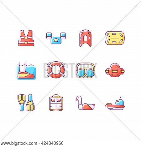 Pool Floats And Water Safety Equipment Rgb Color Icons Set. Personal Flotation Device. Water Rescue.