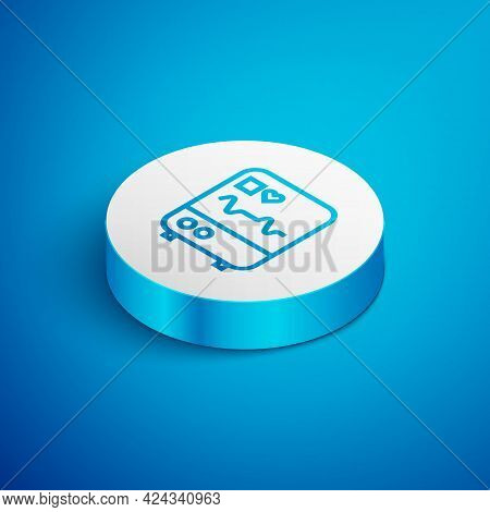 Isometric Line Computer Monitor With Cardiogram Icon Isolated On Blue Background. Monitoring Icon. E