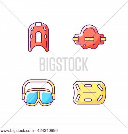 Swimming Pool Supplies Rgb Color Icons Set. Kickboard. Aqua Jogger. Swimming Goggles. Buoyant Board.