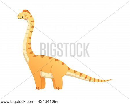 Tall Happy Dinosaur With Closed Eyes And Long Tail Cartoon Vector Illustration