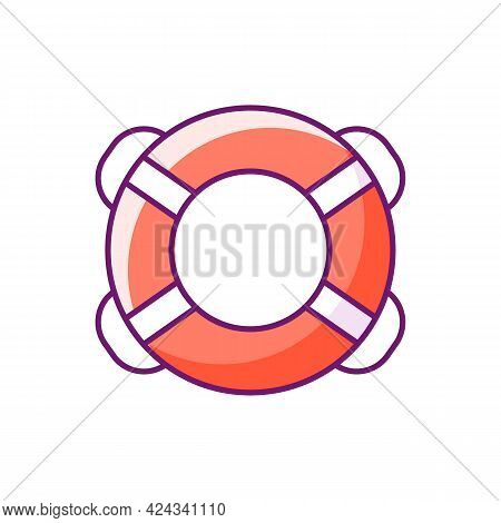 Ring Buoy Rgb Color Icon. Isolated Vector Illustration. Life Preserver. Round Floatation Device. Ass
