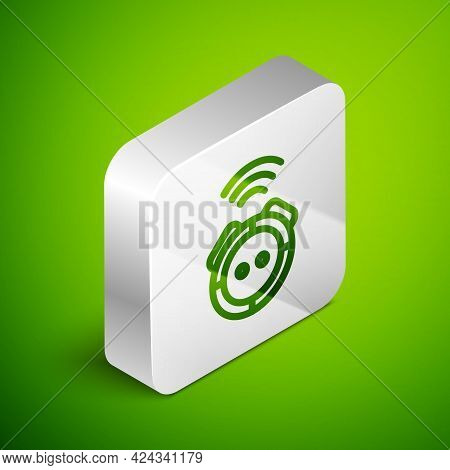 Isometric Line Robot Vacuum Cleaner Icon Isolated On Green Background. Home Smart Appliance For Auto