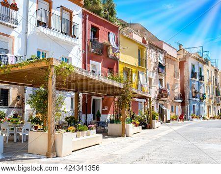 Alicante Old Town With Colorful Houses In Ancient Neighborhood El Barrio Or Casco Antiguo Santa Cruz